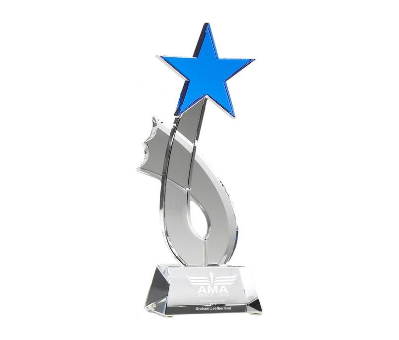 "Aquamarine Optical Crystal Rising Star Award 26.5cm (10.5"")"