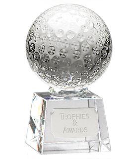 "Glass Golf Ball Award on Thick Glass Base 12cm (4.75"")"