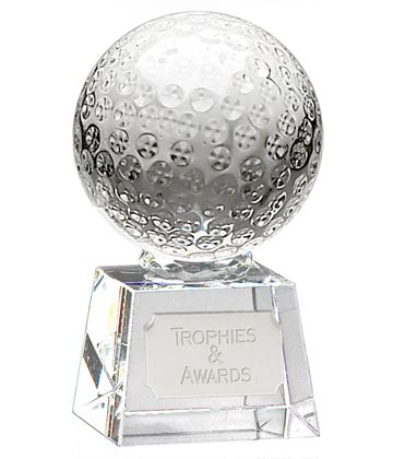 "Glass Golf Ball Award on Thick Glass Base 12cm (4.75"")"