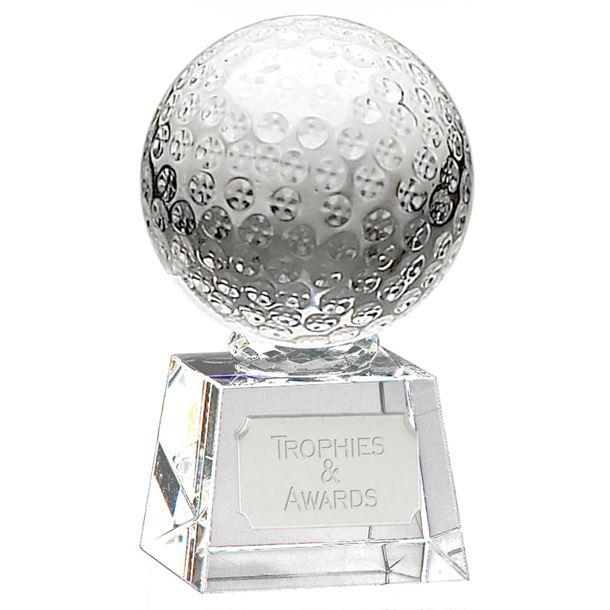 "Glass Golf Ball Award on Thick Glass Base 17cm (6.75"")"