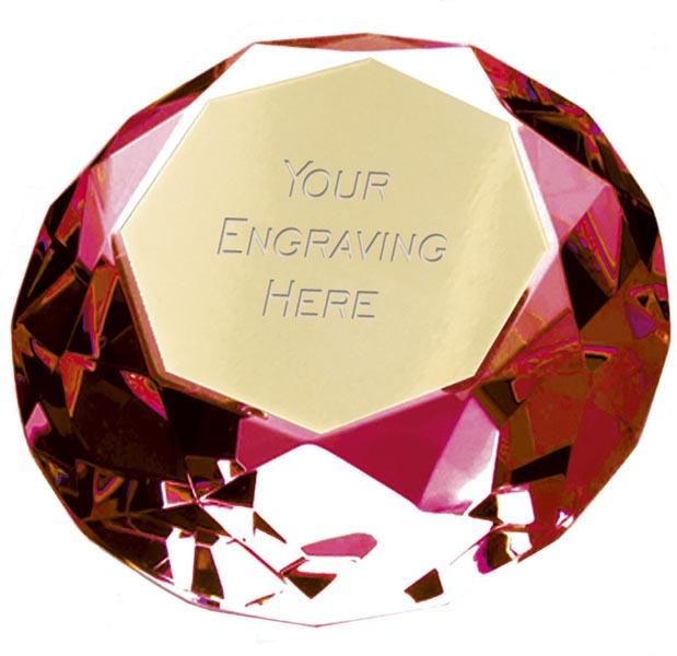 "Red Clarity Diamond Paperweight Award 6cm (2.25"")"