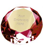 "Red Clarity Diamond Paperweight Award 8cm (3"")"