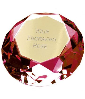 "Red Clarity Diamond Paperweight Award 8cm (3"")"