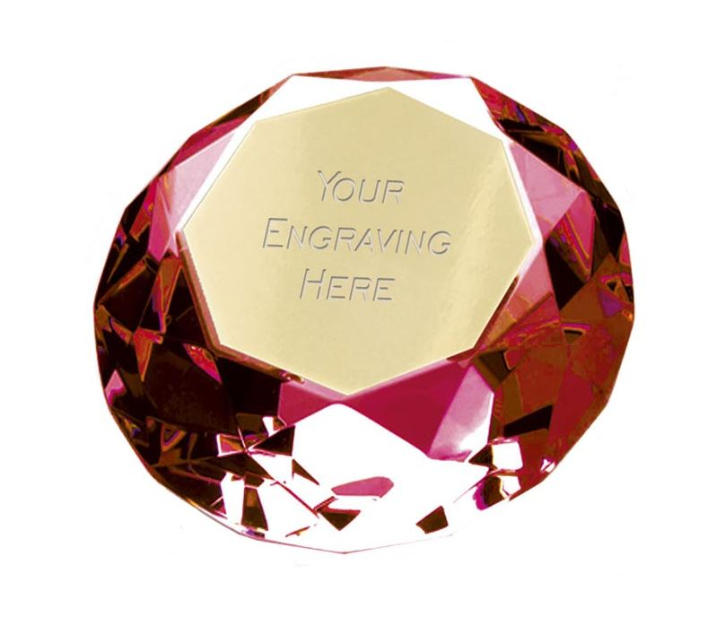 "Red Clarity Diamond Paperweight Award 8cm (3.25"")"