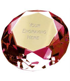 "Red Clarity Diamond Paperweight Award 10cm (4"")"
