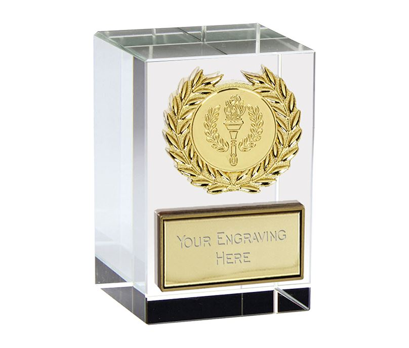 "Merit Gold Laurel Wreath Optical Crystal Glass Award 7.5cm (3"")"