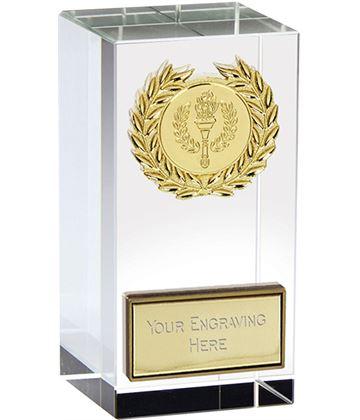 "Merit Gold Laurel Wreath Optical Crystal Glass Award 9.5cm (3.75"")"