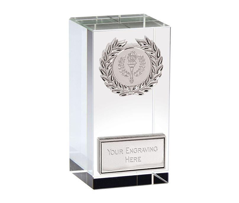 """Merit Silver Laurel Wreath Optical Crystal Glass Award 9.5cm (3.75"""")"""