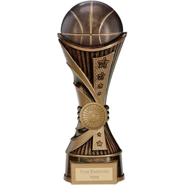 "All Stars Basketball Heavyweight Trophy Antique Bronze & Gold 22cm (8.75"")"