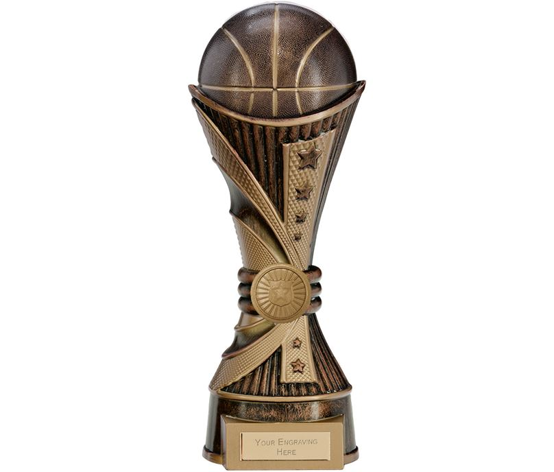 "All Stars Basketball Heavyweight Trophy Antique Bronze & Gold 25cm (9.75"")"