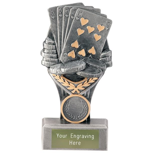 "Poker Cards Falcon Trophy 15cm (6"")"