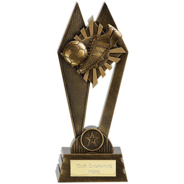 "Football Boot & Ball Peak Trophy Antique Gold 22.5cm (8.75"")"