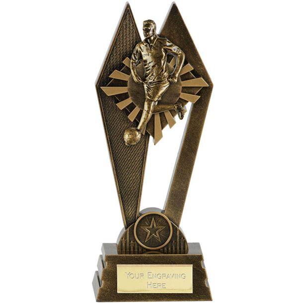 "Male Footballer Peak Trophy Antique Gold 17.5cm (7"")"