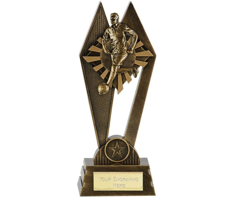 "Male Footballer Peak Trophy Antique Gold 20cm (8"")"