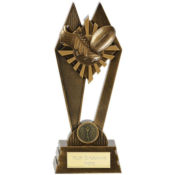 "Rugby Peak Trophy Antique Gold 17cm (6.75"")"