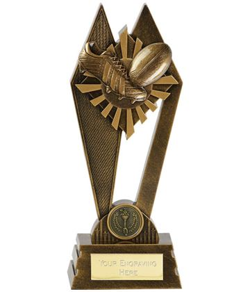 "Rugby Peak Trophy Antique Gold 20cm (8"")"
