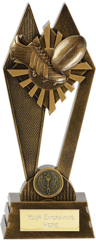 "Rugby Peak Trophy Antique Gold 22.5cm (8.75"")"