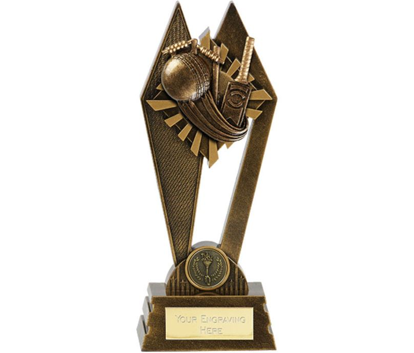 "Cricket Peak Trophy Antique Gold 17.5cm (7"")"