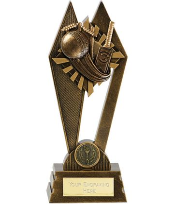 "Cricket Peak Trophy Antique Gold 22.5cm (8.75"")"