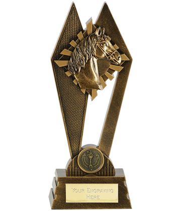 """Horse Riding Peak Trophy Antique Gold 17.5cm (7"""")"""