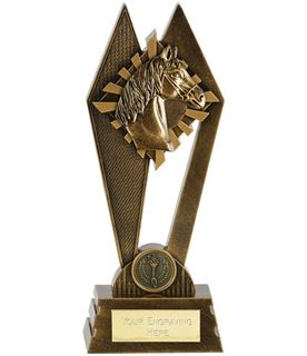 "Horse Riding Peak Trophy Antique Gold 20cm (8"")"