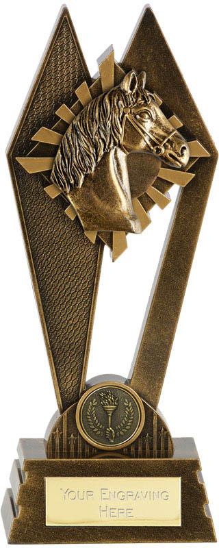 """Horse Riding Peak Trophy Antique Gold 20cm (8"""")"""