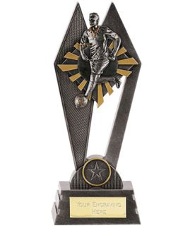 "Male Footballer Peak Trophy Antique Silver 17.5cm (7"")"