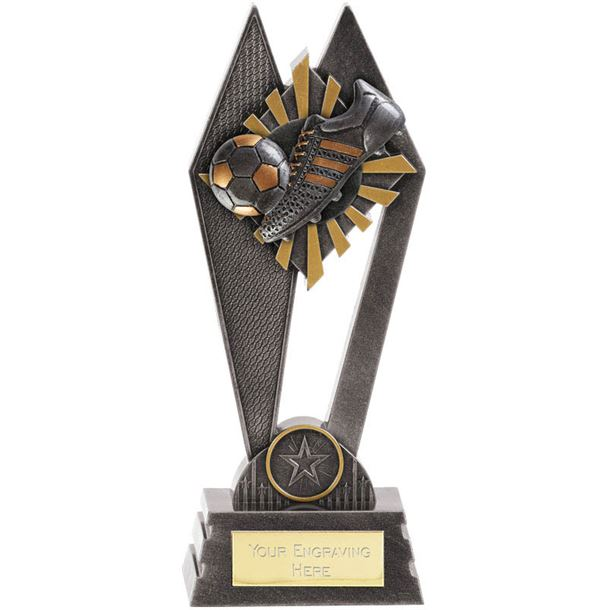 "Football Boot & Ball Peak Trophy Antique Silver 17.5cm (7"")"