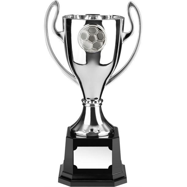 "Silver Football Presentation Cup on Black Base 23cm (9"")"
