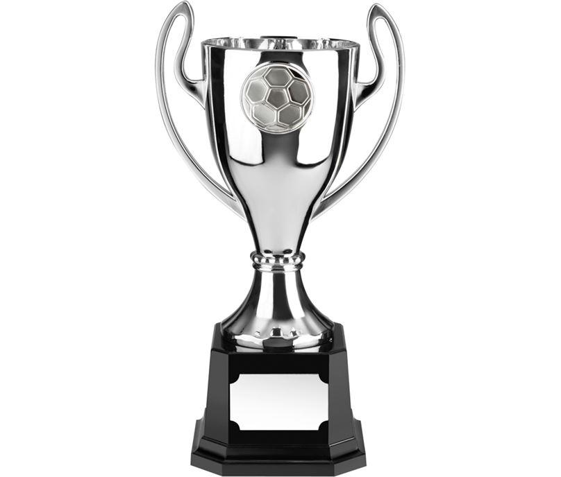 "Silver Football Presentation Cup on Black Base 26.5cm (10.5"")"