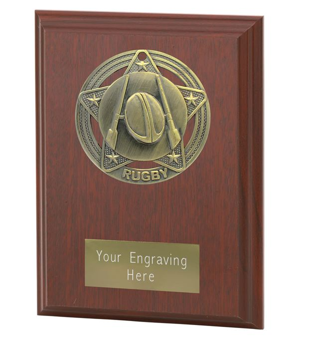 """Rugby Plaque Award by Infinity Stars 12.5cm (5"""")"""