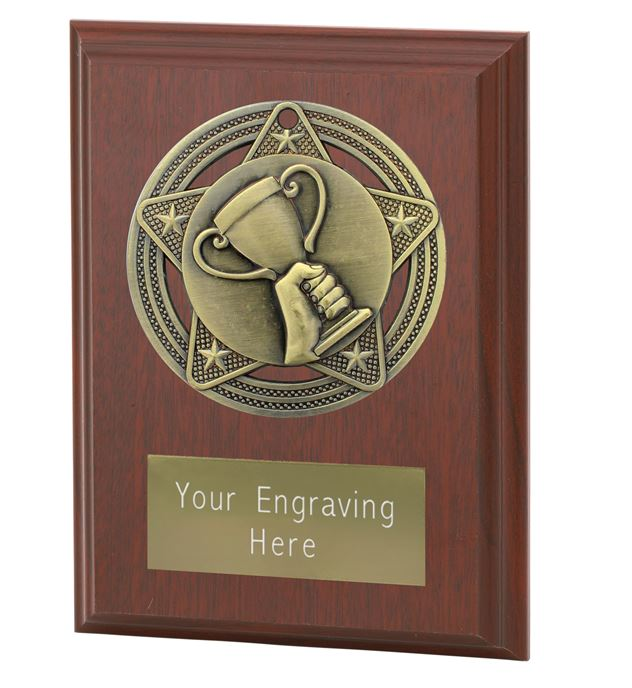 """Trophy Cup Plaque Award by Infinity Stars 10cm (4"""")"""