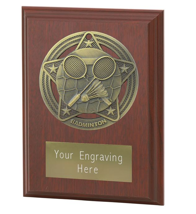 "Badminton Plaque Award by Infinity Stars 10cm (4"")"