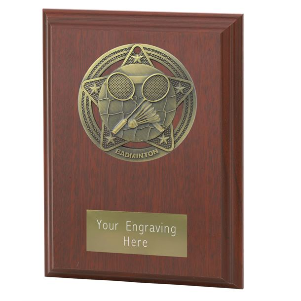 "Badminton Plaque Award by Infinity Stars 12.5cm (5"")"