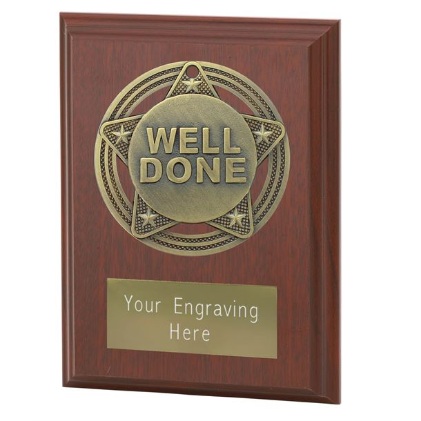 """Well Done Plaque Award by Infinity Stars 10cm (4"""")"""