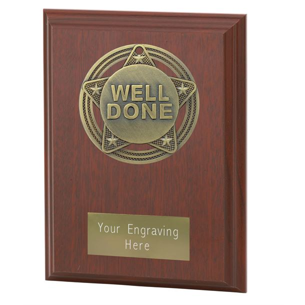 "Well Done Plaque Award by Infinity Stars 12.5cm (5"")"