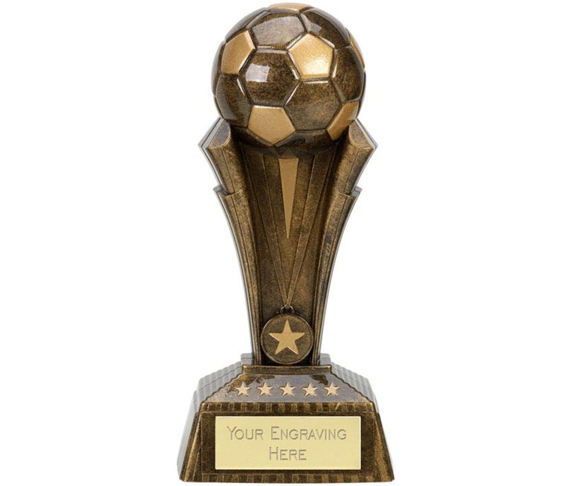 "Football Project X Column Trophy Antique Gold 19cm (7.5"")"