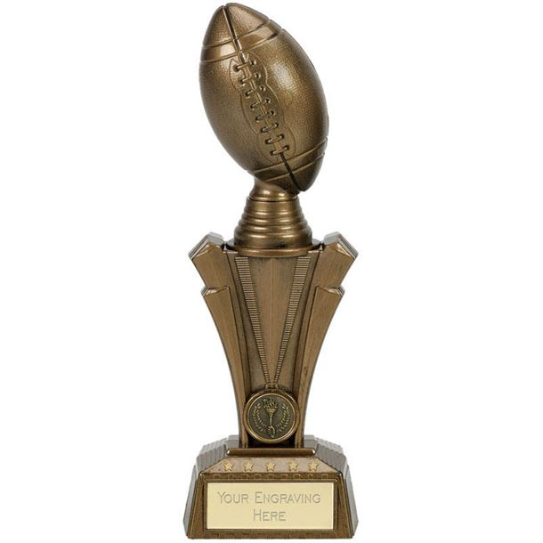 """American Football Project X Column Trophy Antique Gold 23cm (9"""")"""