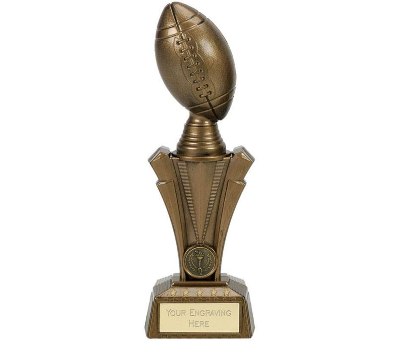 "American Football Project X Column Trophy Antique Gold 23cm (9"")"