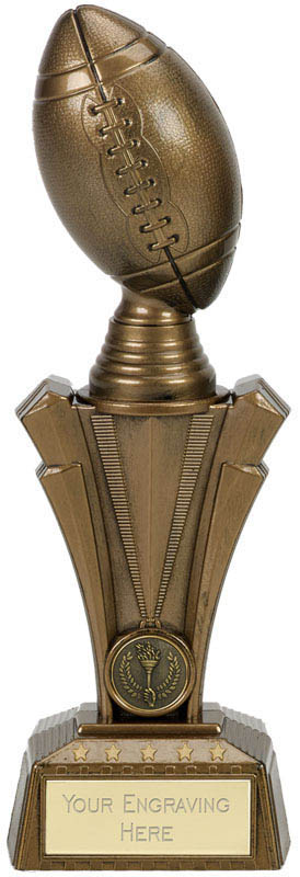 "American Football Project X Column Trophy Antique Gold 25.5cm (10"")"
