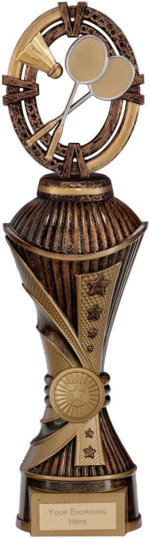 "Maverick Badminton Heavyweight Trophy Bronze & Antique Gold 30.5cm (12"")"