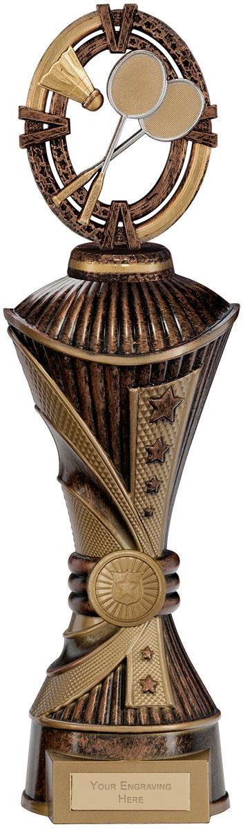 "Maverick Badminton Heavyweight Trophy Bronze & Antique Gold 33cm (13"")"