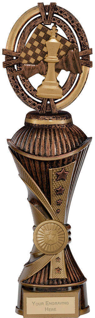 """Maverick Chess Heavyweight Trophy Antique Bronze & Gold 28.5cm (11.25"""")"""