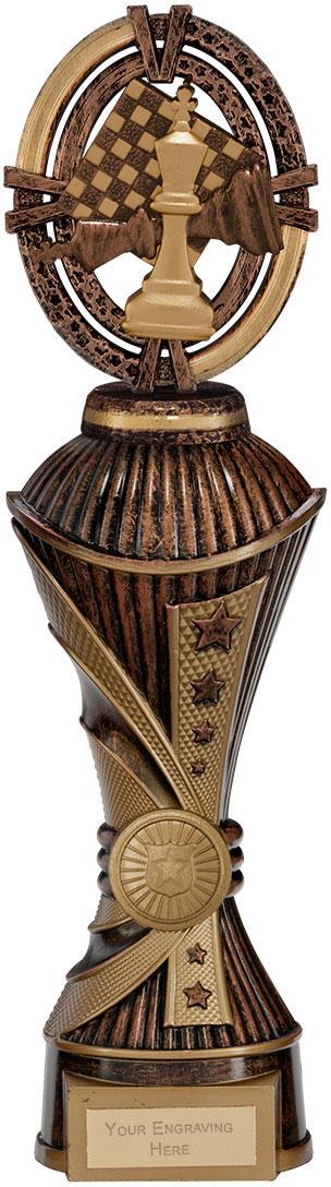 """Maverick Chess Heavyweight Trophy Antique Bronze & Gold 30.5cm (12"""")"""