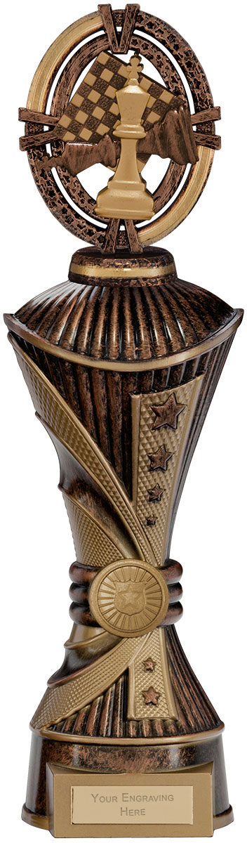 """Maverick Chess Heavyweight Trophy Bronze & Antique Gold 33cm (13"""")"""
