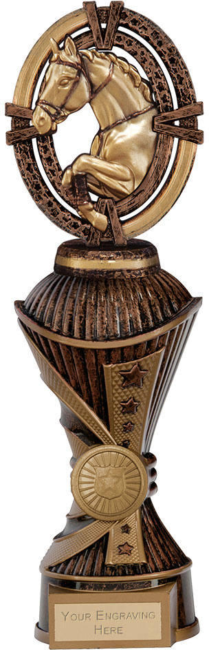 "Maverick Equestrian Heavyweight Trophy Antique Bronze & Gold 26.5cm (10.5"")"
