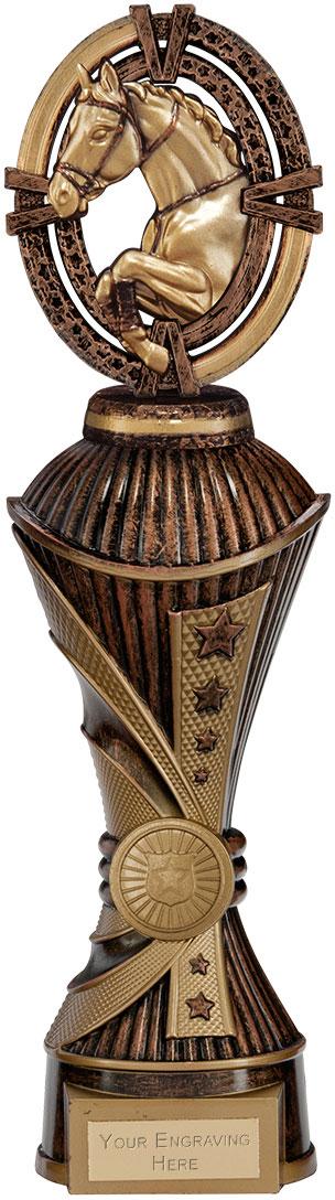 "Maverick Equestrian Heavyweight Trophy Antique Bronze & Gold 30.5cm (12"")"