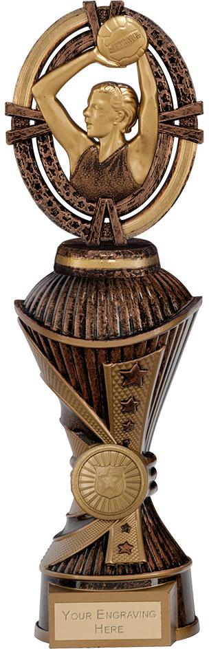 """Maverick Netball Heavyweight Trophy Antique Bronze & Gold 26.5cm (10.5"""")"""
