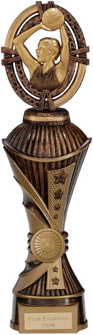 """Maverick Netball Heavyweight Trophy Antique Bronze & Gold 30.5cm (12"""")"""
