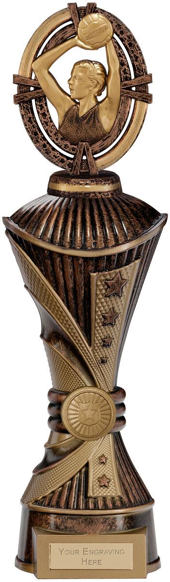 """Maverick Netball Heavyweight Trophy Antique Bronze & Gold 33cm (13"""")"""